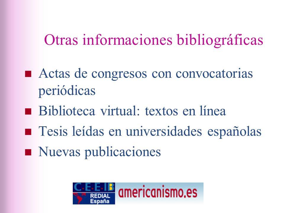 Otras informaciones bibliográficas Actas de congresos con convocatorias periódicas Biblioteca virtual: textos en línea Tesis leídas en universidades españolas Nuevas publicaciones