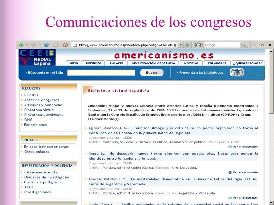Comunicaciones de los congresos
