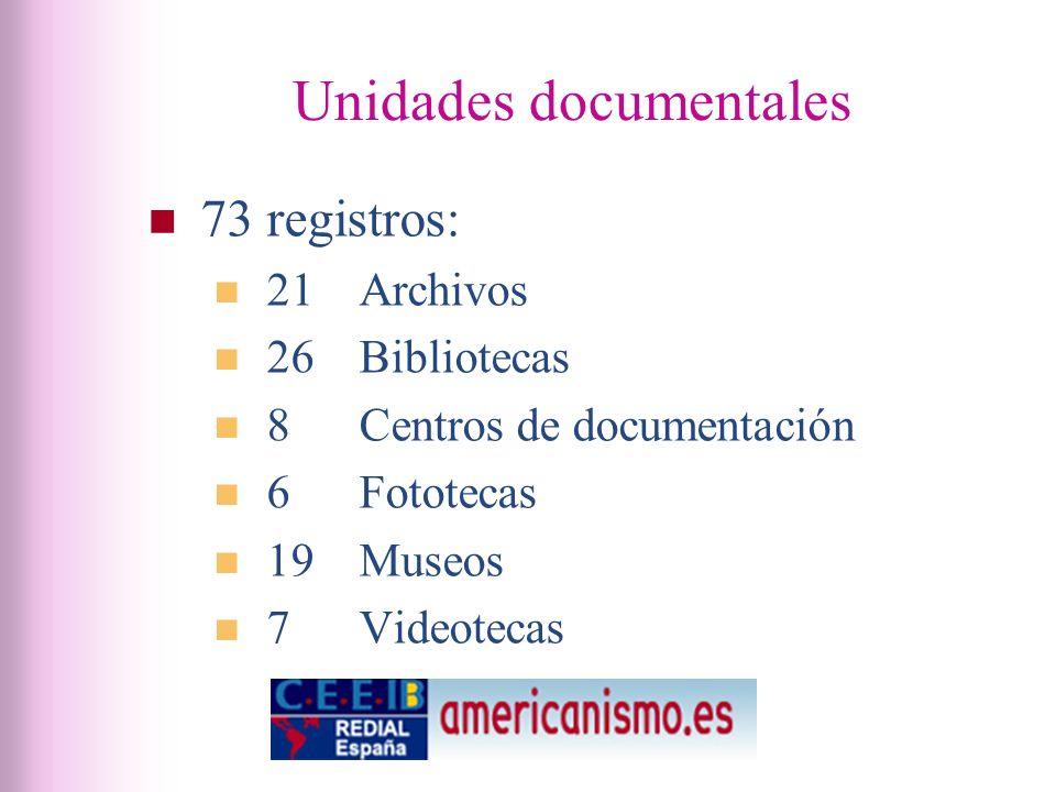 Unidades documentales 73 registros: 21 Archivos 26 Bibliotecas 8 Centros de documentación 6 Fototecas 19 Museos 7 Videotecas