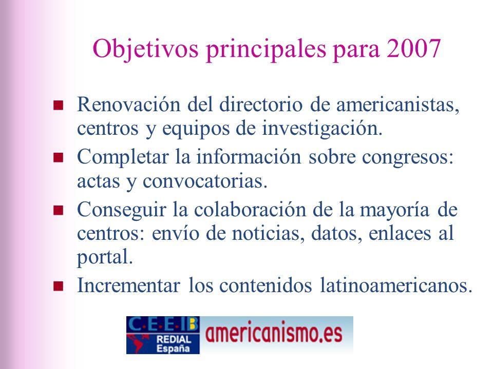 Objetivos principales para 2007 Renovación del directorio de americanistas, centros y equipos de investigación.