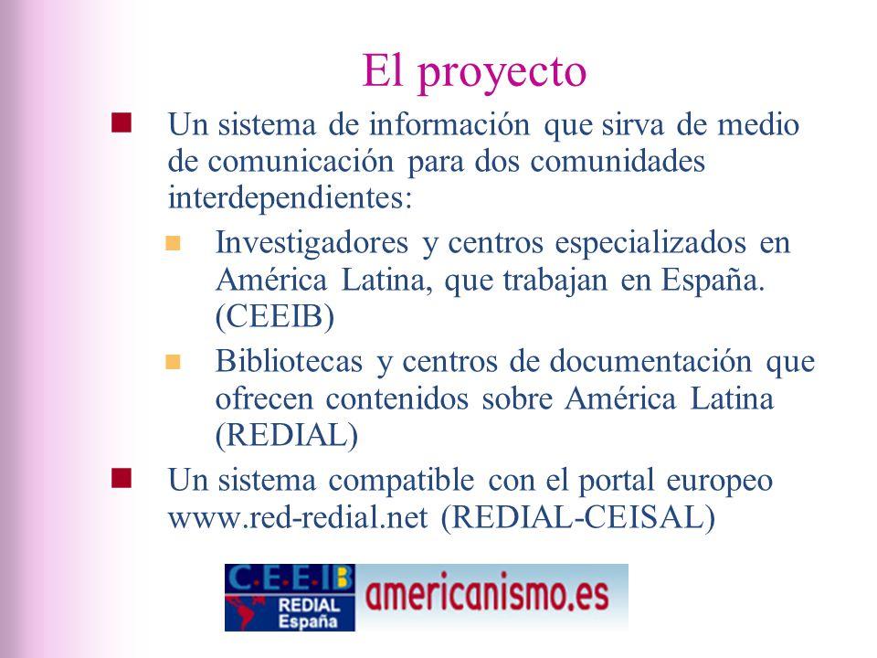 El proyecto Un sistema de información que sirva de medio de comunicación para dos comunidades interdependientes: Investigadores y centros especializados en América Latina, que trabajan en España.
