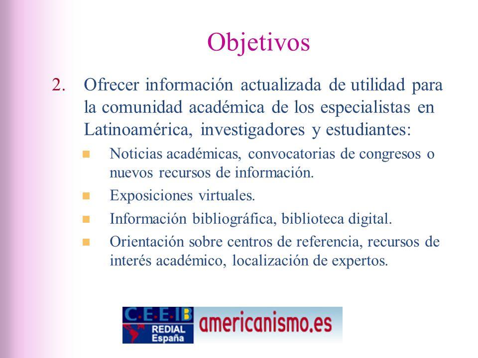 Objetivos 2.Ofrecer información actualizada de utilidad para la comunidad académica de los especialistas en Latinoamérica, investigadores y estudiantes: Noticias académicas, convocatorias de congresos o nuevos recursos de información.