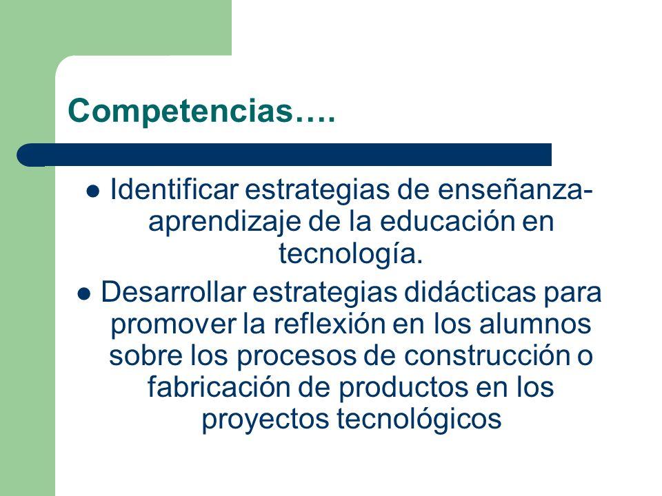 Competencias…. Identificar estrategias de enseñanza- aprendizaje de la educación en tecnología. Desarrollar estrategias didácticas para promover la re