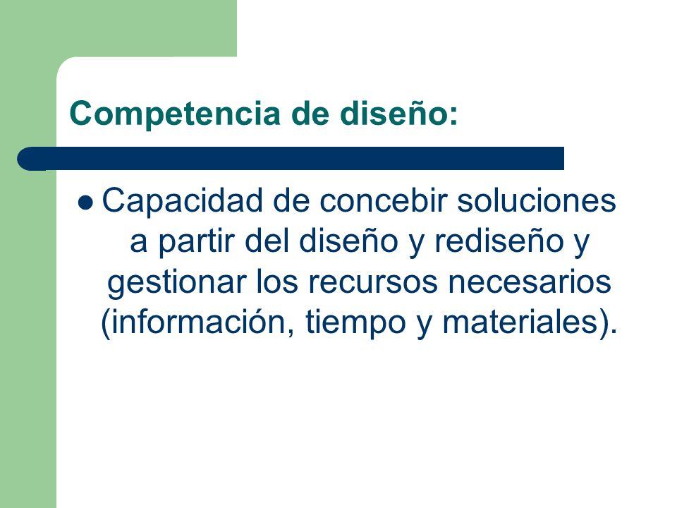 Competencia de diseño: Capacidad de concebir soluciones a partir del diseño y rediseño y gestionar los recursos necesarios (información, tiempo y mate