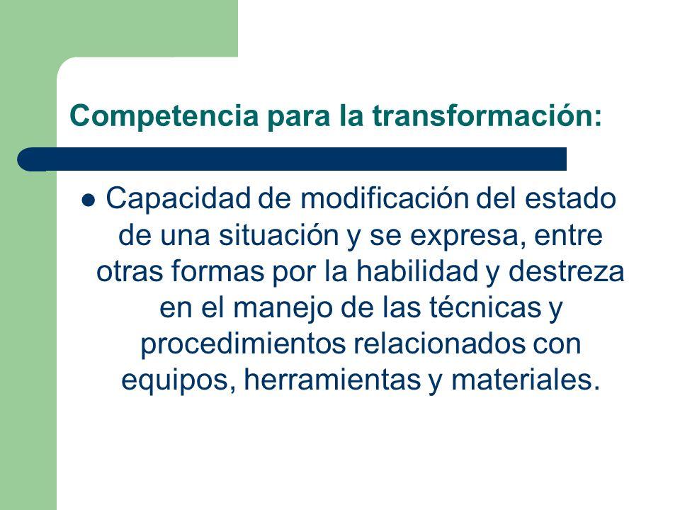 Competencia para la transformación: Capacidad de modificación del estado de una situación y se expresa, entre otras formas por la habilidad y destreza