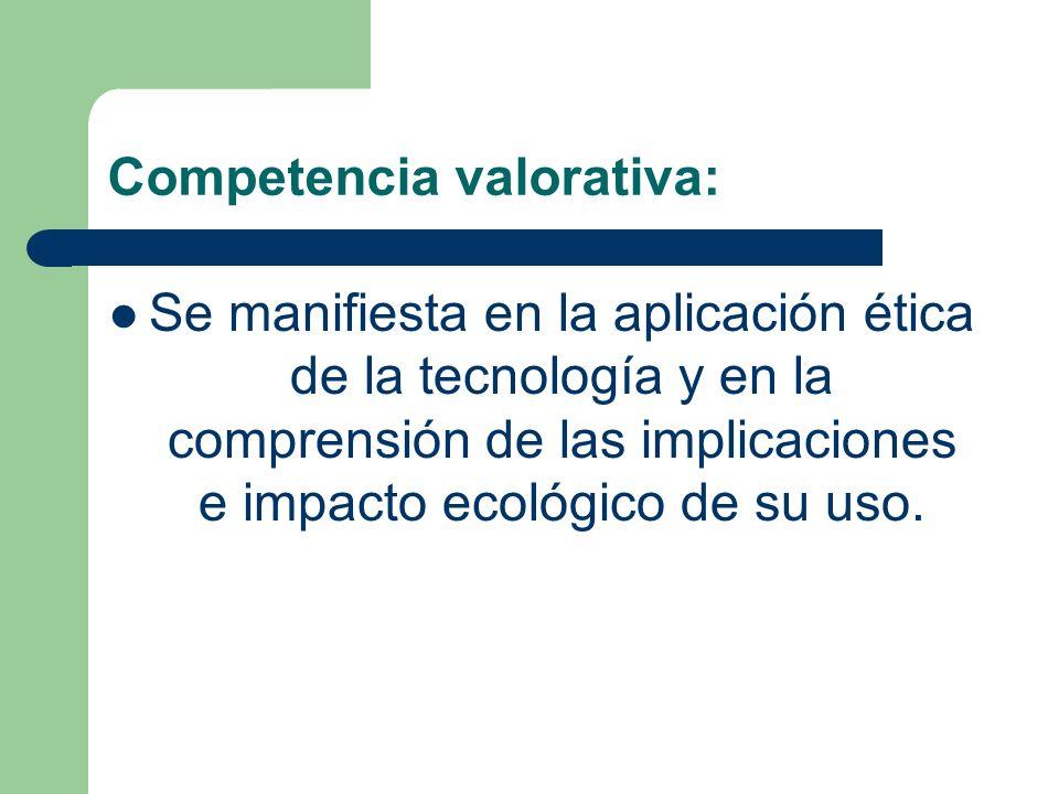 Competencia valorativa: Se manifiesta en la aplicación ética de la tecnología y en la comprensión de las implicaciones e impacto ecológico de su uso.