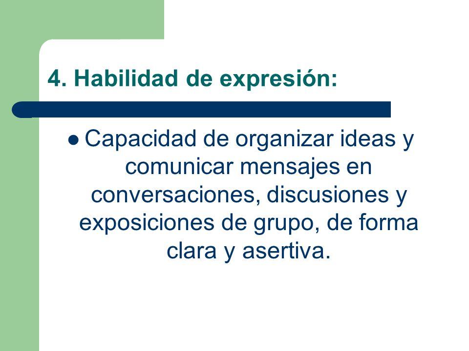 4. Habilidad de expresión: Capacidad de organizar ideas y comunicar mensajes en conversaciones, discusiones y exposiciones de grupo, de forma clara y