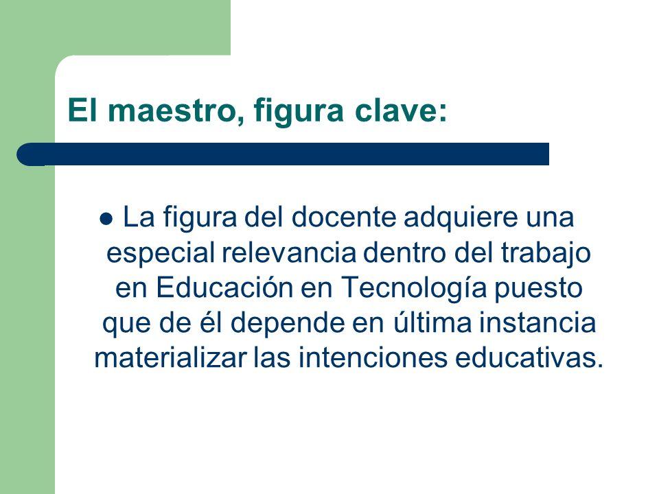 El maestro, figura clave: La figura del docente adquiere una especial relevancia dentro del trabajo en Educación en Tecnología puesto que de él depend
