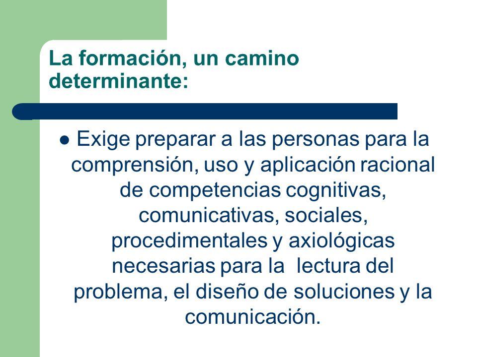 La formación, un camino determinante: Exige preparar a las personas para la comprensión, uso y aplicación racional de competencias cognitivas, comunic
