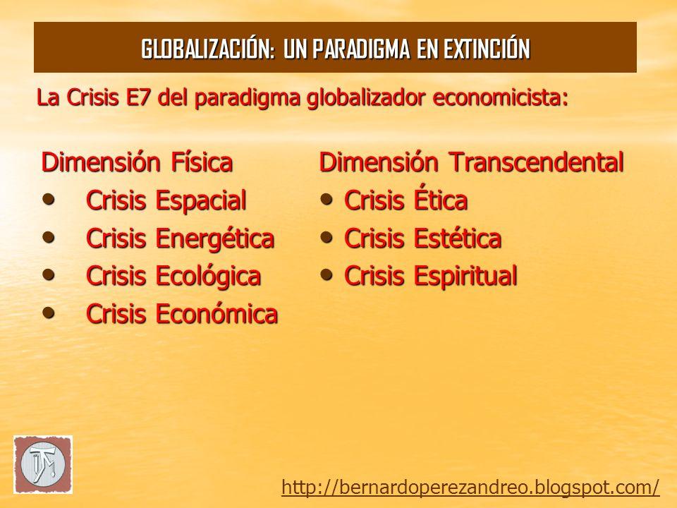 Espirit ual Estética Ética Económica Energética Ecológica Espacial http://bernardoperezandreo.blogspot.com/ GLOBALIZACIÓN: UN PARADIGMA EN EXTINCIÓN