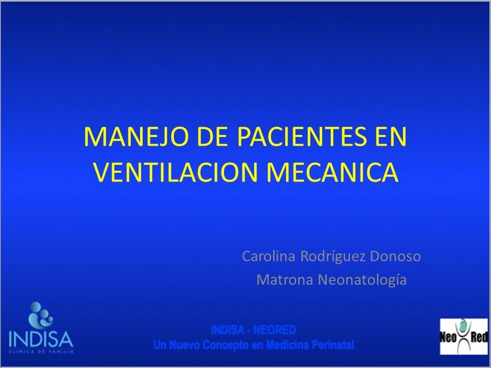 Objetivo Protocolizar los cuidados de los pacientes sometidos a ventilación mecánica en la unidad de Neonatología de Clínica Indisa, con el fin de establecer un consenso frente a la forma de entregar los cuidados