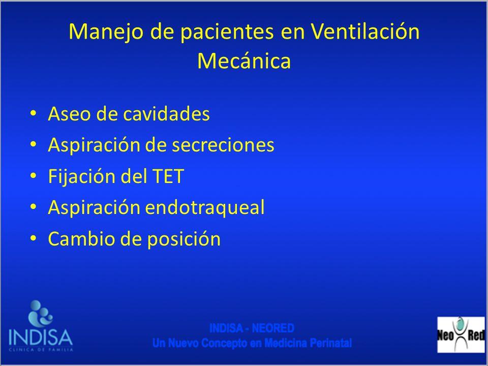 Manejo de pacientes en Ventilación Mecánica Aseo de cavidades Aspiración de secreciones Fijación del TET Aspiración endotraqueal Cambio de posición