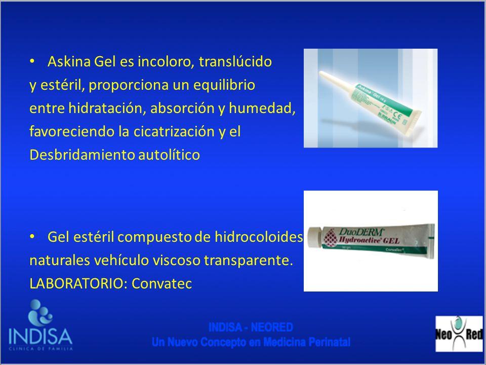 Askina Gel es incoloro, translúcido y estéril, proporciona un equilibrio entre hidratación, absorción y humedad, favoreciendo la cicatrización y el De
