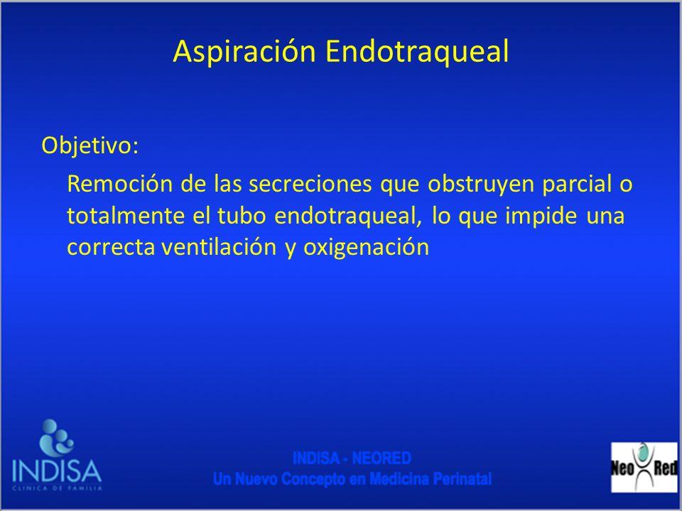 Aspiración Endotraqueal Objetivo: Remoción de las secreciones que obstruyen parcial o totalmente el tubo endotraqueal, lo que impide una correcta vent