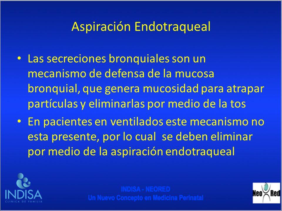 Aspiración Endotraqueal Las secreciones bronquiales son un mecanismo de defensa de la mucosa bronquial, que genera mucosidad para atrapar partículas y