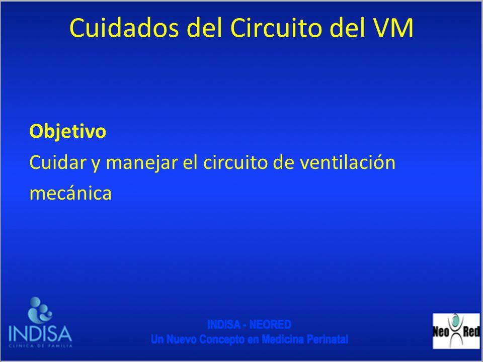 Cuidados del Circuito del VM Objetivo Cuidar y manejar el circuito de ventilación mecánica