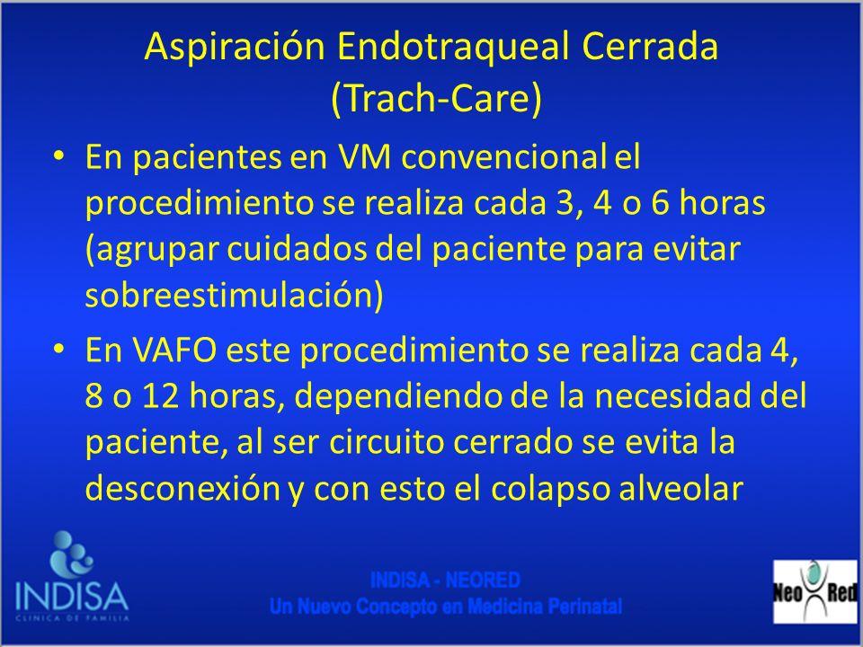 Aspiración Endotraqueal Cerrada (Trach-Care) En pacientes en VM convencional el procedimiento se realiza cada 3, 4 o 6 horas (agrupar cuidados del pac