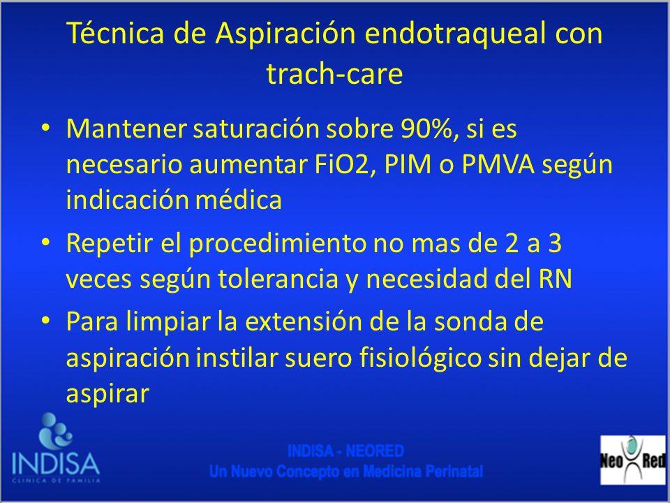 Técnica de Aspiración endotraqueal con trach-care Mantener saturación sobre 90%, si es necesario aumentar FiO2, PIM o PMVA según indicación médica Rep