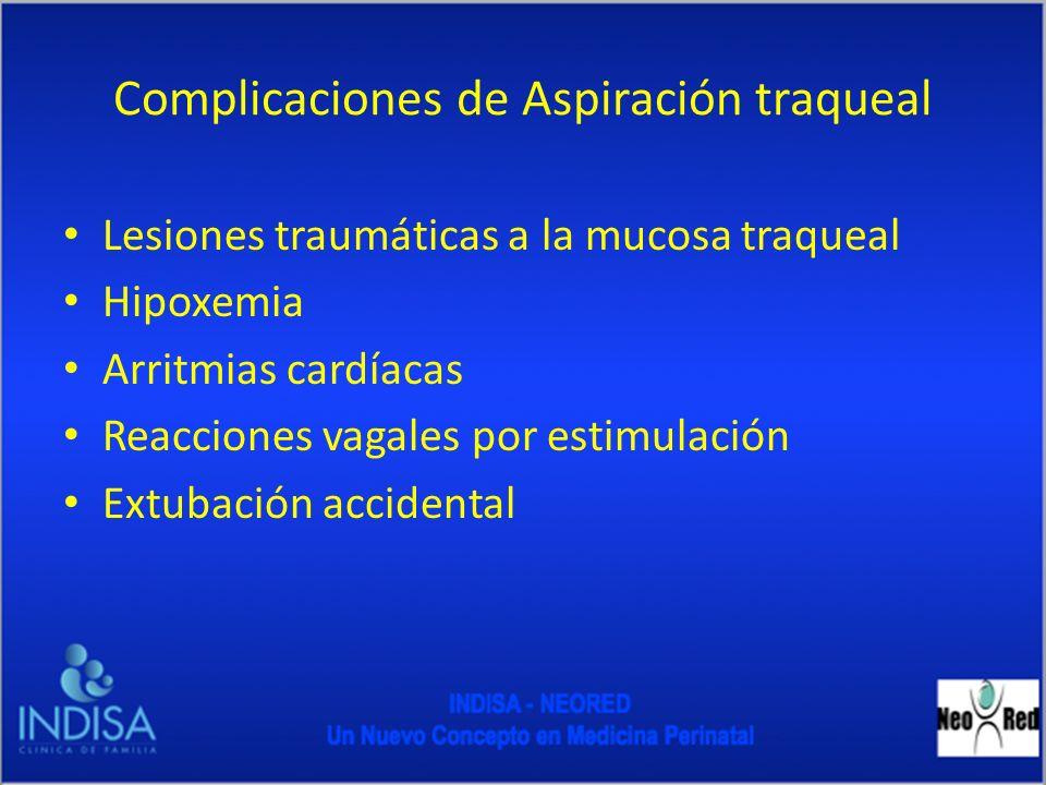 Complicaciones de Aspiración traqueal Lesiones traumáticas a la mucosa traqueal Hipoxemia Arritmias cardíacas Reacciones vagales por estimulación Extu