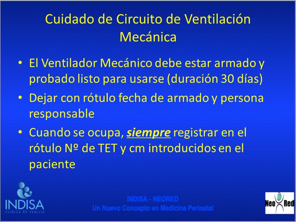 Cuidado de circuito de Ventilación mecánica Cambio de circuito: En pacientes con VM prolongada el cambio de circuito debe realizarse cada 30 días Se debe cambiar el circuito en pacientes extubados a CPAP por mas de 6 horas y que no tolera la VMNI y requiere reintubación En caso de Contaminación