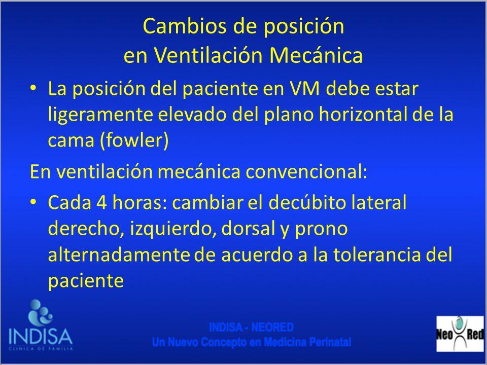 Cambios de posición en Ventilación Mecánica La posición del paciente en VM debe estar ligeramente elevado del plano horizontal de la cama (fowler) En