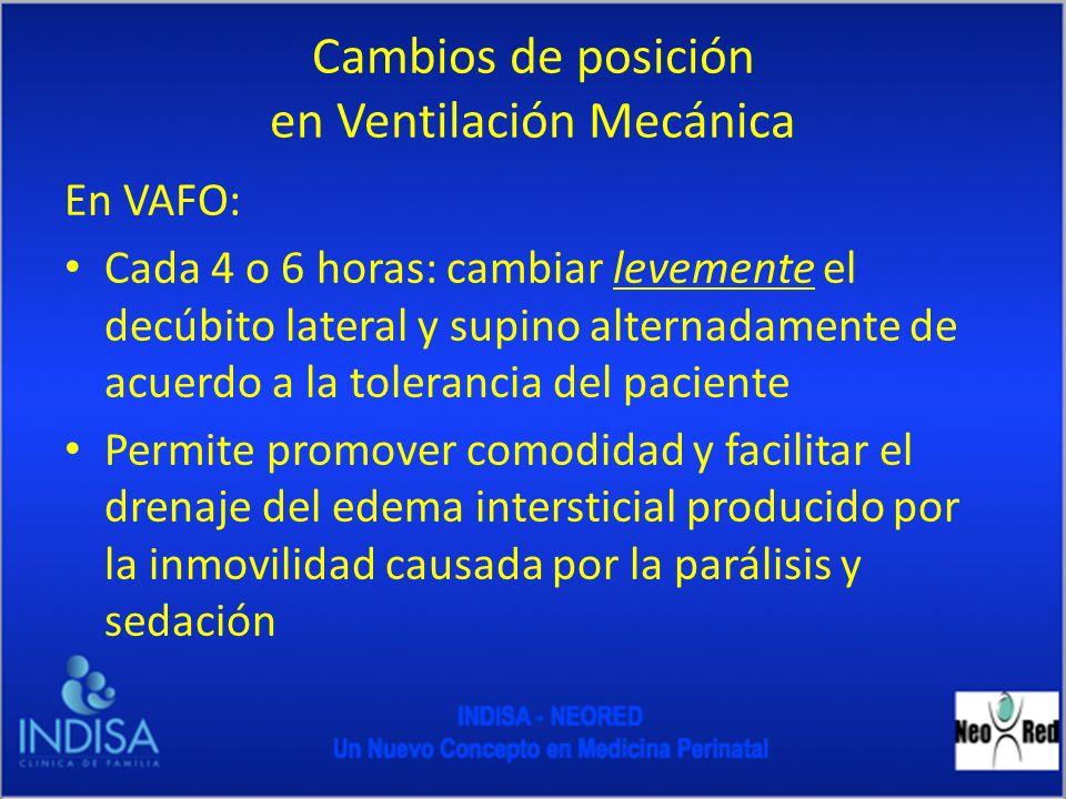 Cambios de posición en Ventilación Mecánica En VAFO: Cada 4 o 6 horas: cambiar levemente el decúbito lateral y supino alternadamente de acuerdo a la t