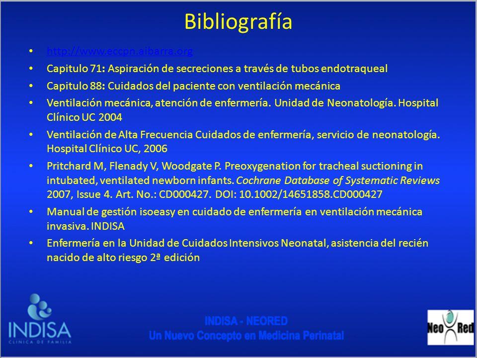 Bibliografía http://www.eccpn.aibarra.org Capitulo 71: Aspiración de secreciones a través de tubos endotraqueal Capitulo 88: Cuidados del paciente con