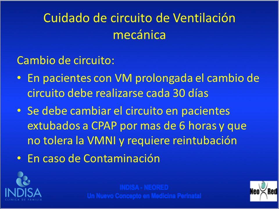 Manejo de Circuito de Ventilación Mecánica en Paciente Intubado Revise que no existan fugas en el ventilador Revise y rellene el nivel de agua en el humedificador Cambie matraz de agua bidestilada Mantenga temperatura del VM en 36º a 37º C y en VAFO 39 a 40ºC Evite acodamiento del circuito
