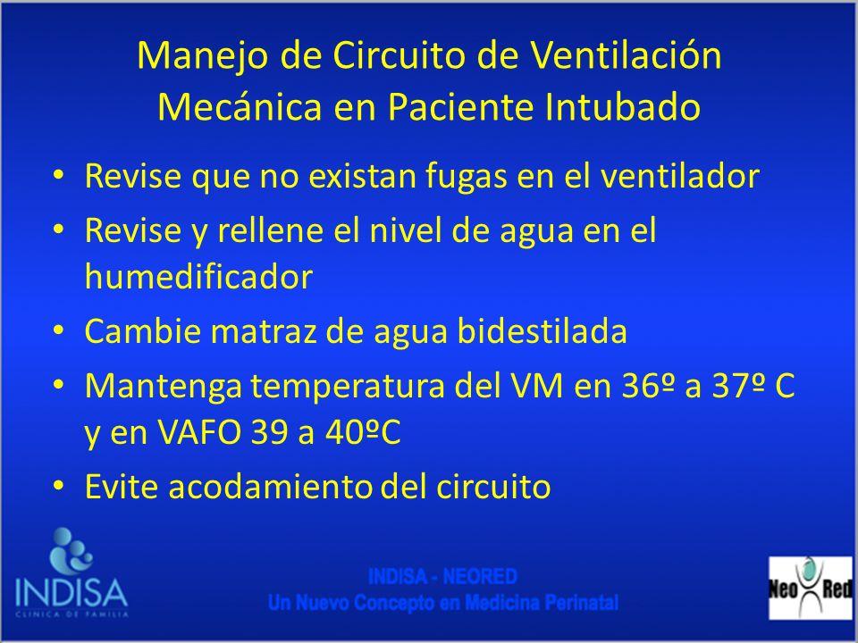 Manejo de Circuito de Ventilación Mecánica en Paciente Intubado Revise que no existan fugas en el ventilador Revise y rellene el nivel de agua en el h