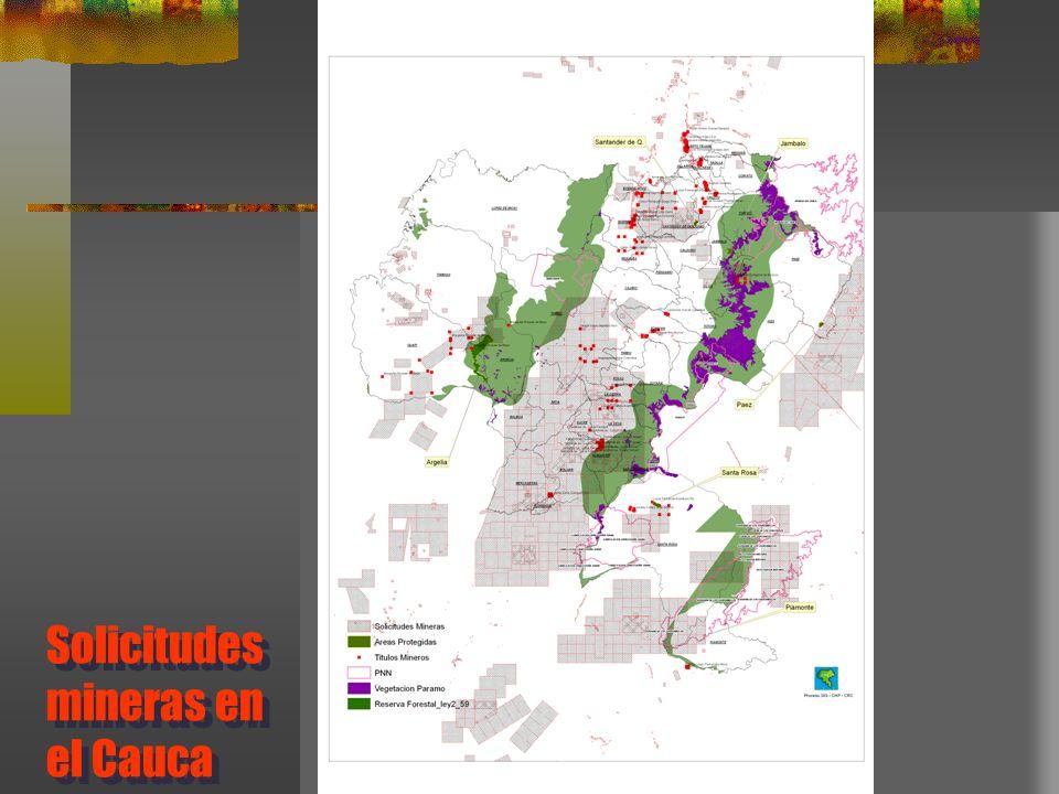 Solicitudes mineras en el Cauca