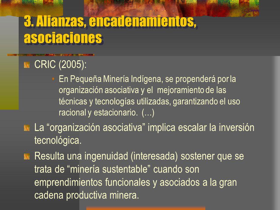 3. Alianzas, encadenamientos, asociaciones CRIC (2005): En Pequeña Minería Indígena, se propenderá por la organización asociativa y el mejoramiento de