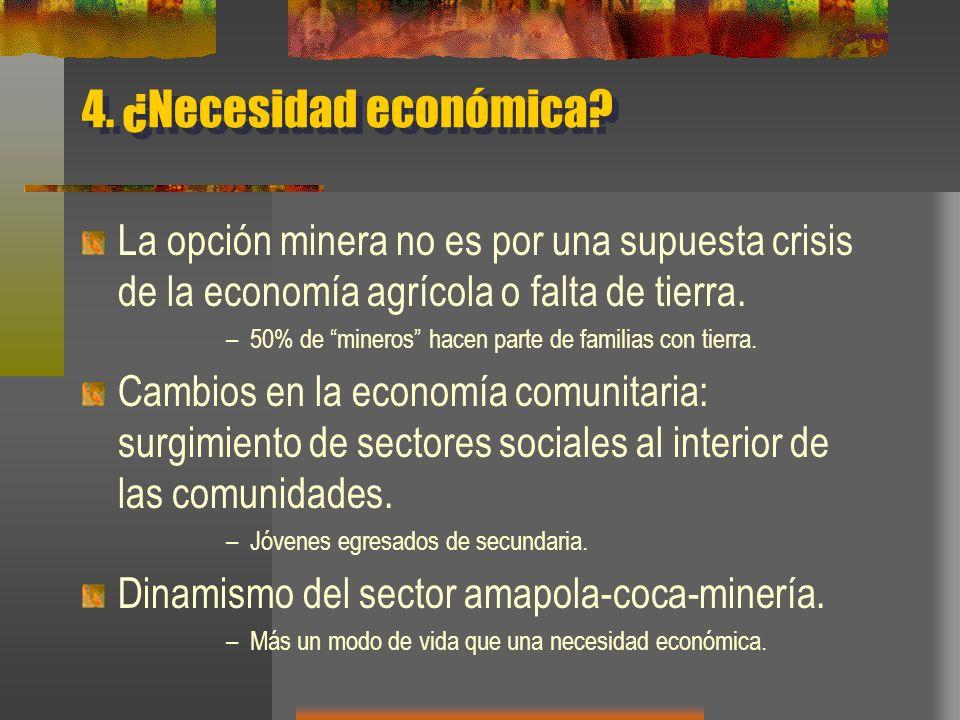 4. ¿Necesidad económica? La opción minera no es por una supuesta crisis de la economía agrícola o falta de tierra. –50% de mineros hacen parte de fami