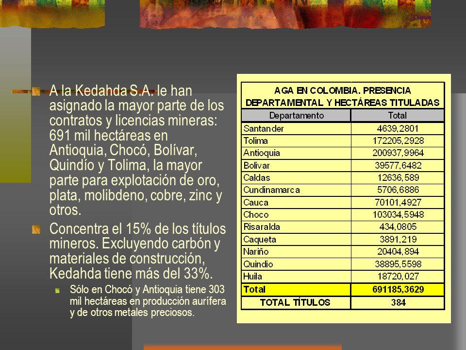 A la Kedahda S.A. le han asignado la mayor parte de los contratos y licencias mineras: 691 mil hectáreas en Antioquia, Chocó, Bolívar, Quindío y Tolim
