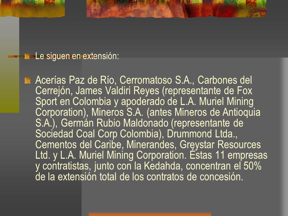 Le siguen en extensión: Acerías Paz de Río, Cerromatoso S.A., Carbones del Cerrejón, James Valdiri Reyes (representante de Fox Sport en Colombia y apo