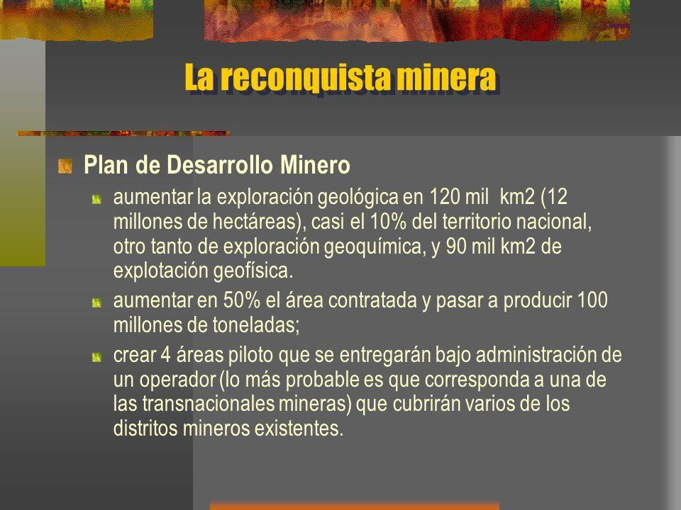 La reconquista minera Plan de Desarrollo Minero aumentar la exploración geológica en 120 mil km2 (12 millones de hectáreas), casi el 10% del territori