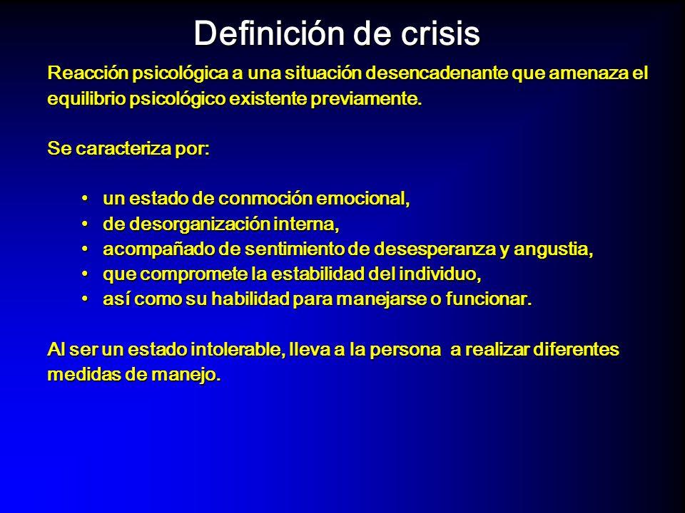 La crisis es una condición caracterizada por: – El equilibrio psicológico ha sido alterada – Los mecanismos de manejo (coping) han fallado en restablecer el equilibrio.