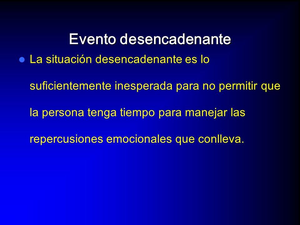 Evento desencadenante Pueden ser universalmente estresantes (provocan inmediata empatía) o ligados a características individuales (no provocan inmediata empatía).