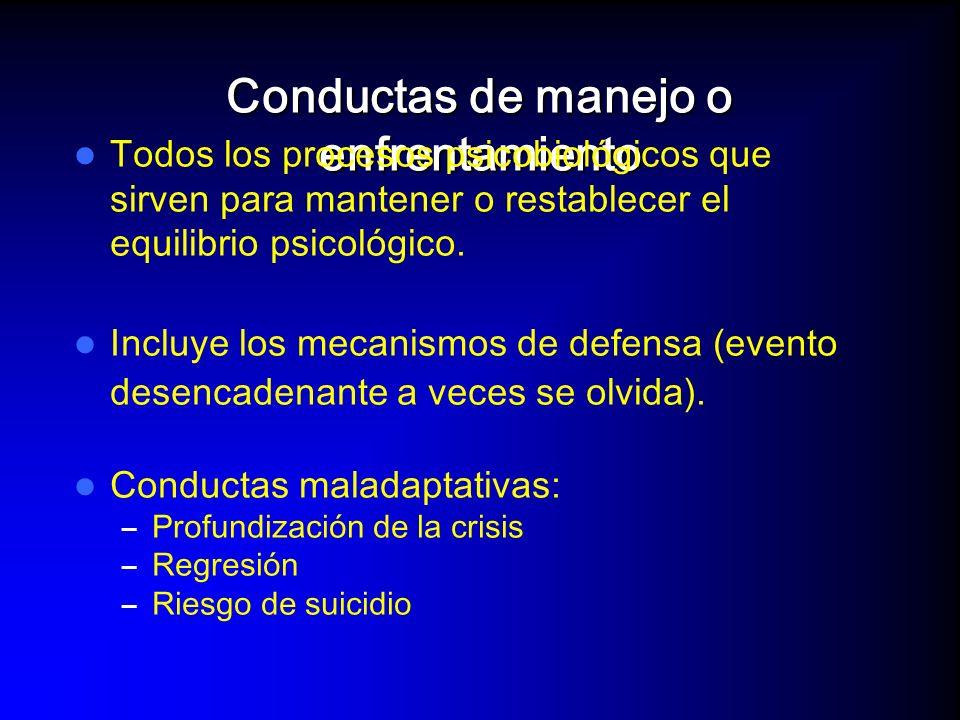 Evento o estresordesencadenante Conductas de manejo FracasoFracasoFracasoFracaso Nuevos intentos de manejo CRISIS Evolución de una crisis