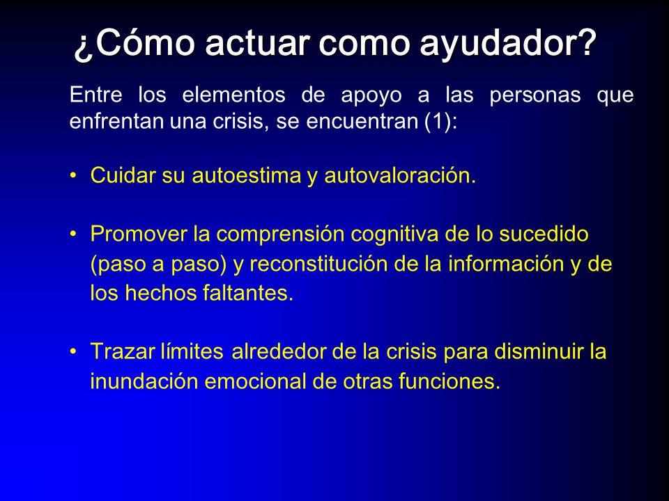 Entre los elementos de apoyo a las personas que enfrentan una crisis, se encuentran (2): Desinsentivar conductas maladaptativas y establecer nuevas conductas de manejo de la crisis.