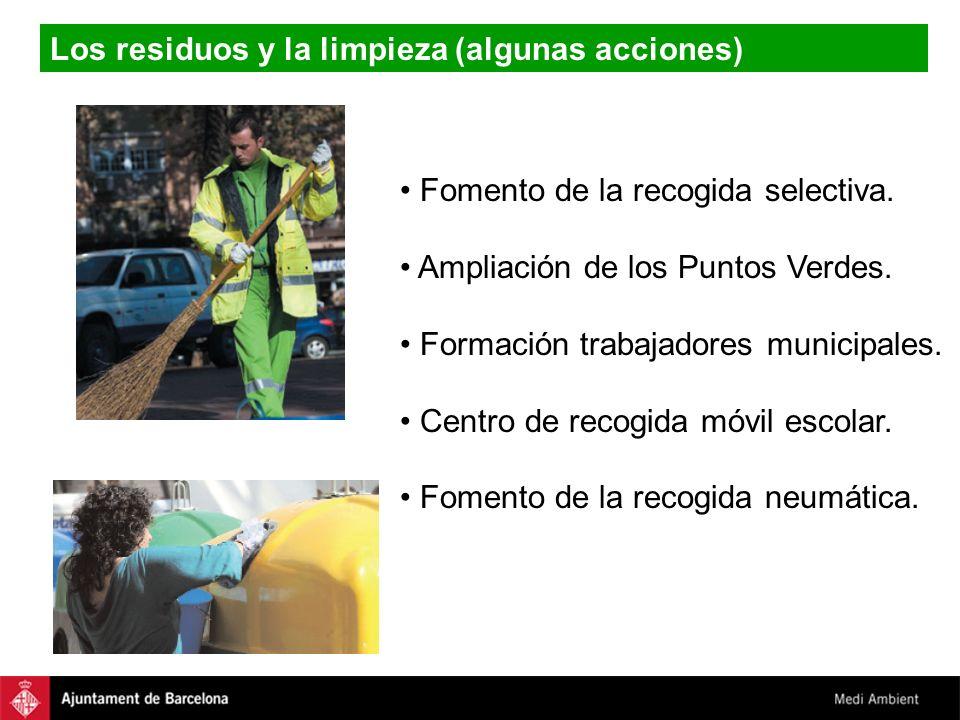 Los residuos y la limpieza (algunas acciones) Fomento de la recogida selectiva. Ampliación de los Puntos Verdes. Formación trabajadores municipales. C