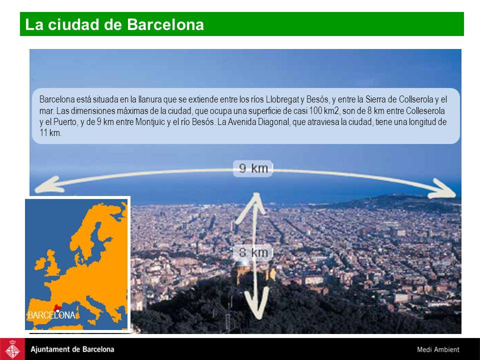 La ciudad de Barcelona BARCELONA Barcelona está situada en la llanura que se extiende entre los ríos Llobregat y Besós, y entre la Sierra de Collserol