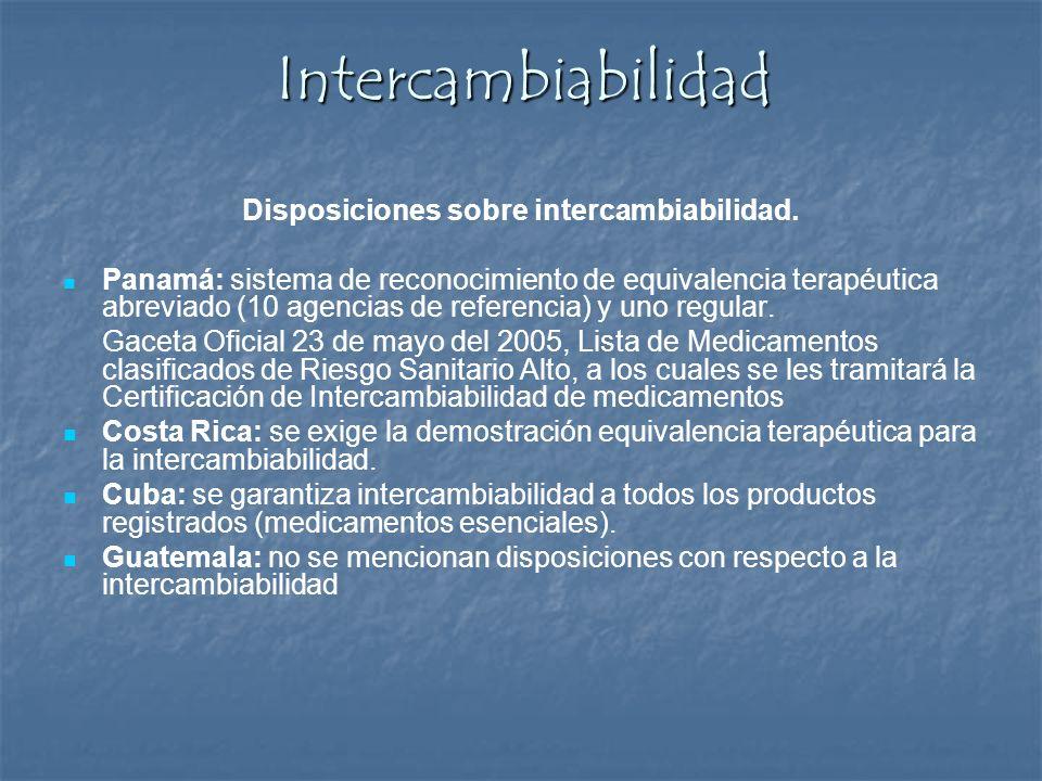 Intercambiabilidad Disposiciones sobre intercambiabilidad. Panamá: sistema de reconocimiento de equivalencia terapéutica abreviado (10 agencias de ref