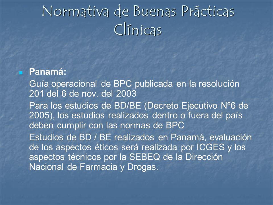 Normativa de Buenas Prácticas Clínicas Panamá: Guía operacional de BPC publicada en la resolución 201 del 6 de nov. del 2003 Para los estudios de BD/B