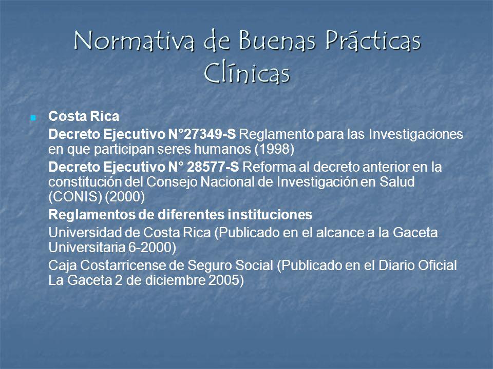 Normativa de Buenas Prácticas Clínicas Costa Rica Decreto Ejecutivo N°27349-S Reglamento para las Investigaciones en que participan seres humanos (199