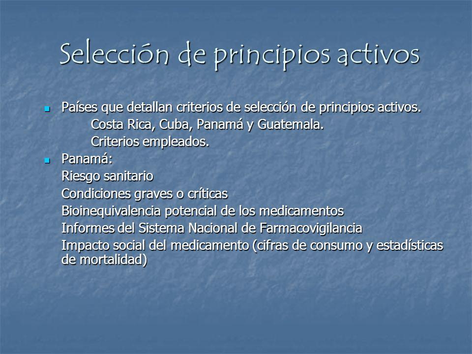 Selección de principios activos Países que detallan criterios de selección de principios activos. Países que detallan criterios de selección de princi