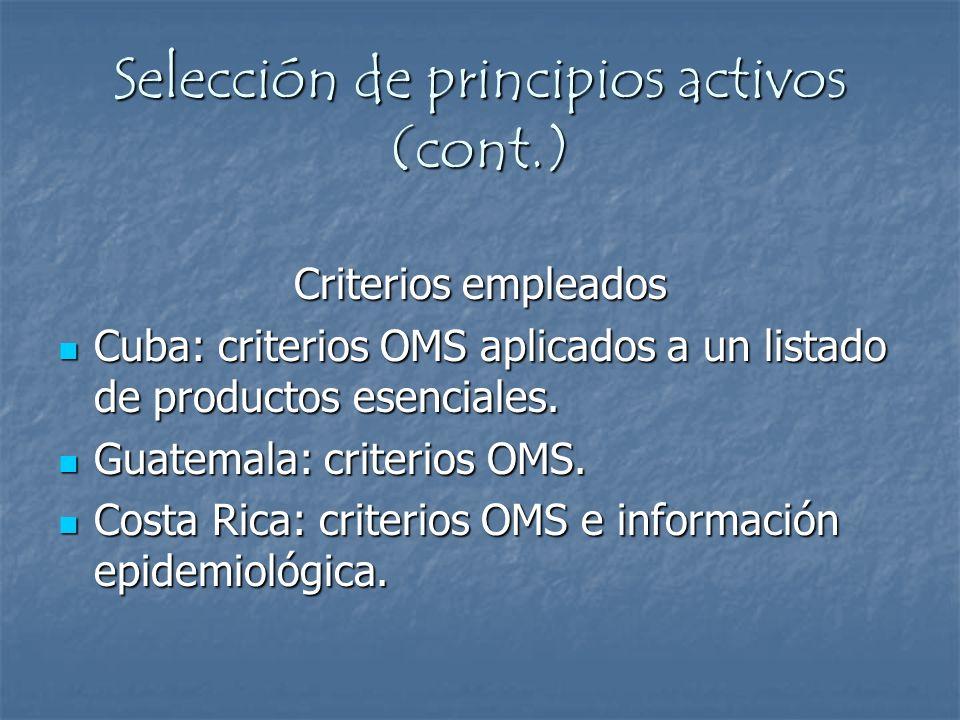 Criterios empleados Cuba: criterios OMS aplicados a un listado de productos esenciales. Cuba: criterios OMS aplicados a un listado de productos esenci
