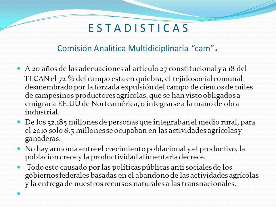 E S T A D I S T I C A S Comisión Analítica Multidiciplinaria cam. A 20 años de las adecuaciones al artículo 27 constitucional y a 18 del TLCAN el 72 %