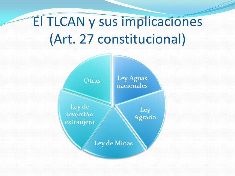 El TLCAN y sus implicaciones (Art. 27 constitucional) Ley Aguas nacionales Ley Agraria Ley de Minas Ley de inversión extranjera Otras