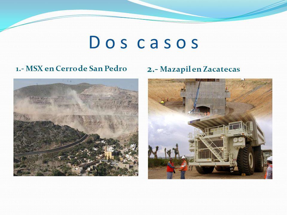 D o s c a s o s 1.- MSX en Cerro de San Pedro 2.- Mazapil en Zacatecas