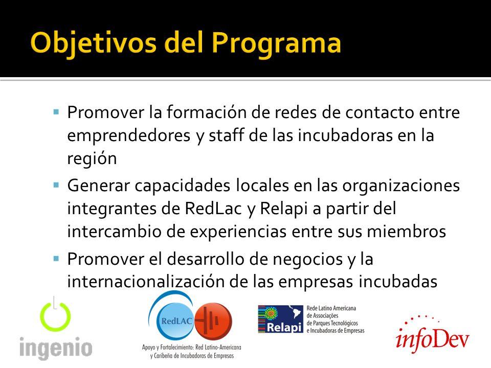 Promover la formación de redes de contacto entre emprendedores y staff de las incubadoras en la región Generar capacidades locales en las organizaciones integrantes de RedLac y Relapi a partir del intercambio de experiencias entre sus miembros Promover el desarrollo de negocios y la internacionalización de las empresas incubadas